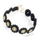 Náhrdelník obojek z umělé krajky s květy - černý