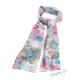 Pestrobarevný květinový šál - růžová, modrá, hnědá barva