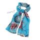 Lehký šál s růžemi a hodinami - modrý