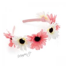 Letní květinová čelenka z růžových a bílých květů