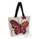 Nákupní kabela (taška) krémová s hnědým motýlem