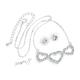 Sada náušnice a řetízek s přívěskem trojité srdce - stříbrná barva