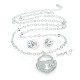 Luxusní sada náušnice a řetízek s přívěskem zámek - stříbrná barva