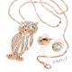 Luxusní sada náušnice a řetízek s přívěskem sova - zlatá barva