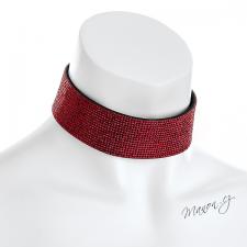 Náhrdelník obojek s třpytivými kamínky - červený