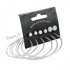 Sada 6 párů náušnic kruhů, peciček a perliček - stříbrná barva