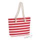 Letní plážová taška s červenými a bílými pruhy