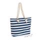 Letní plážová taška s modrými a bílými pruhy