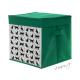 Plátěný úložný box zelený s kočkami