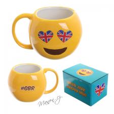 Emoji hrnek žlutý smajlík se srdíčky a britskou vlajkou