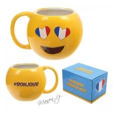 Emoji hrnek žlutý smajlík se srdíčky a francouzskou vlajkou