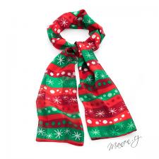 Vánoční šála s hvězdičkami a puntíky červeno-zelená