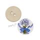 Dřevěný knoflík dekorační - kytice levandule s modrou mašlí