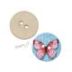 Dřevěný knoflík dekorační - růžový motýl s nápisy