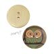 Dřevěný knoflík dekorační - sova zelená