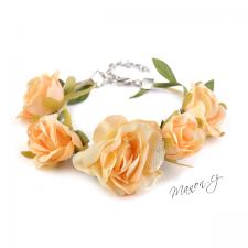 Květinový náramek - oranžové růžičky