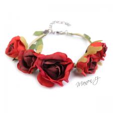 Květinový náramek - červené růžičky