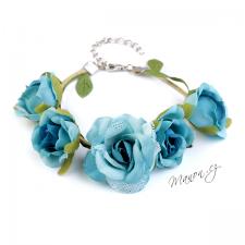 Květinový náramek - modré růžičky