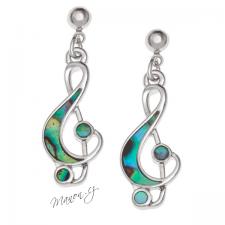 Náušnice houslový klíč s perletí Paua