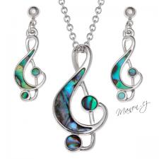 Sada řetízek a náušnice houslový klíč s perletí Paua