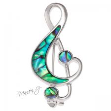Brož houslový klíč rhodiovaný s perletí Paua